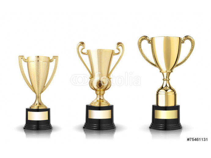 Three different kind of golden trophies. Isolated on white backg 64238