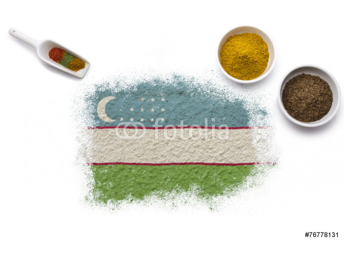 Spices forming the flag of Uzbekistan.(series) 64238