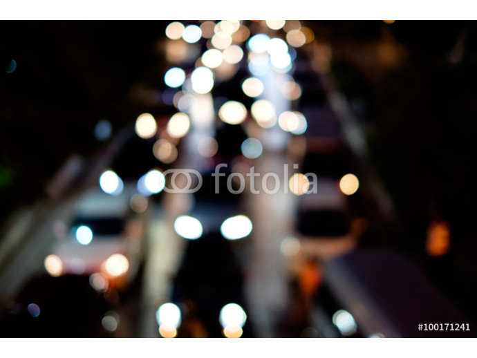 Abstract blur bokeh of traffic jam on road in the city 64238