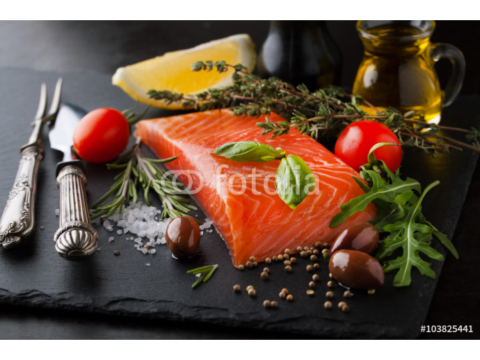 Fresh salmon with spices, herbs, rosemary and olive oil 64238