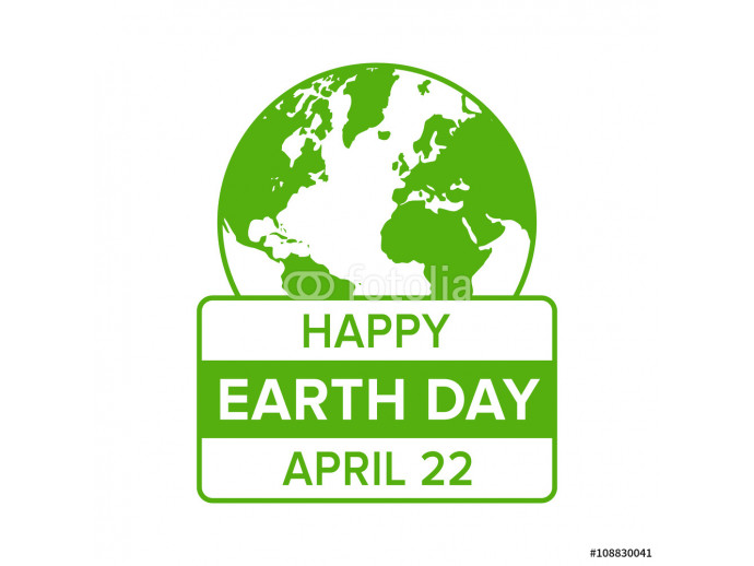 Happy Earth Day on April 22 flat icon emblem for apps and websites 64238
