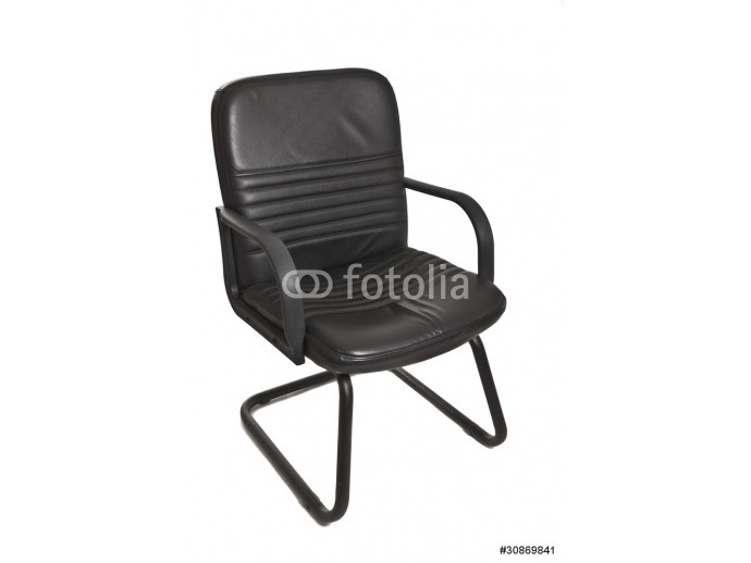 black office chair with wheels on white background 64238