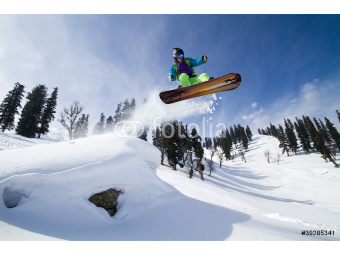 Photo wallpaper Amazing jump on a snowboard 64238