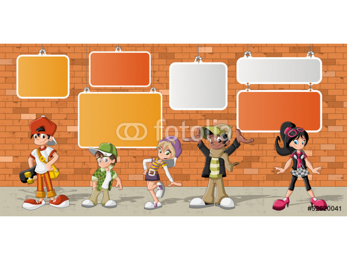 Vliestapete hipster cartoon young people in front of orange brick wall 64238