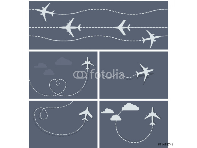 Plane flight - dotted trace of the airplane, heart-shaped and lo 64238
