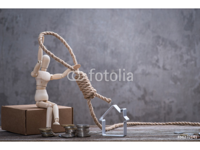 Small wooden dummy sitting with hangman's noose, house and coins 64238