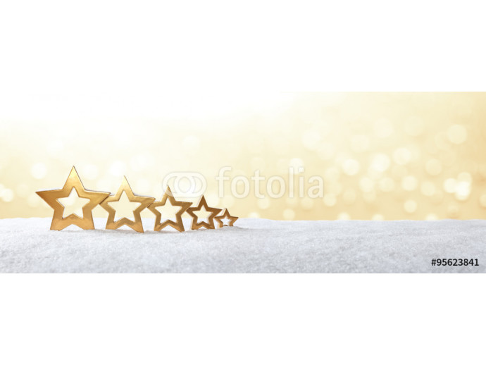 Wallpaper 5 stars snow gold banner 64238