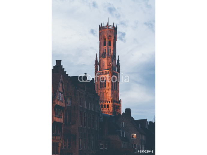 Belfry of Bruges Tower Illuminated at Dusk 64238