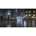 night lights and reflections on the street in polish city 64238