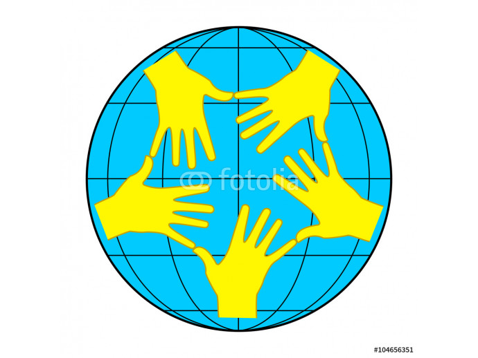 Earth and yellow hands 64238