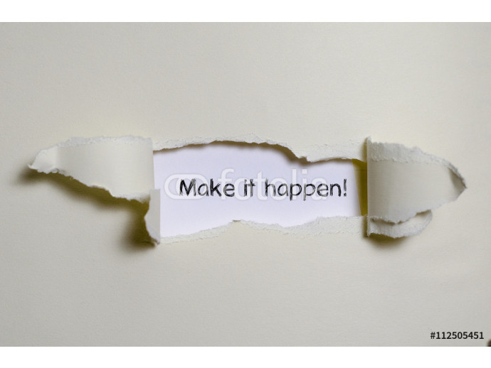 The word make it happen appearing behind torn paper. 64238