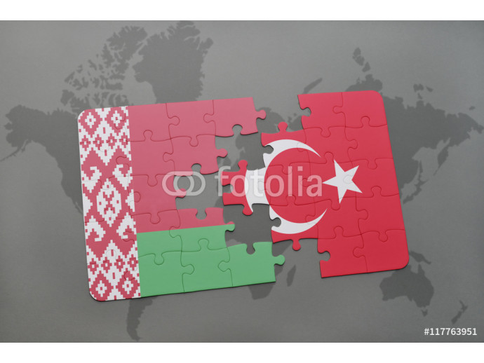 puzzle with the national flag of belarus and turkey on a world map background. 64238