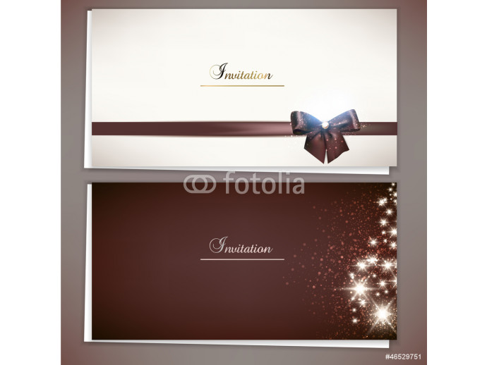 Collection of gift cards and invitations with ribbons. Vector ba 64238