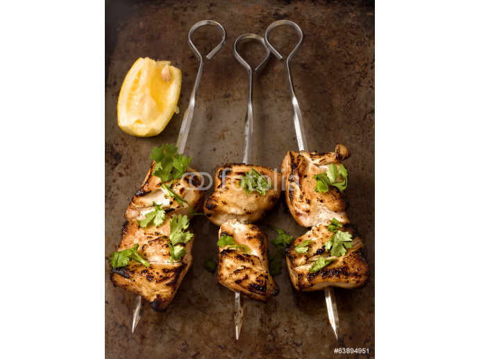 Fototapeta barbecued chicken skewer 64238