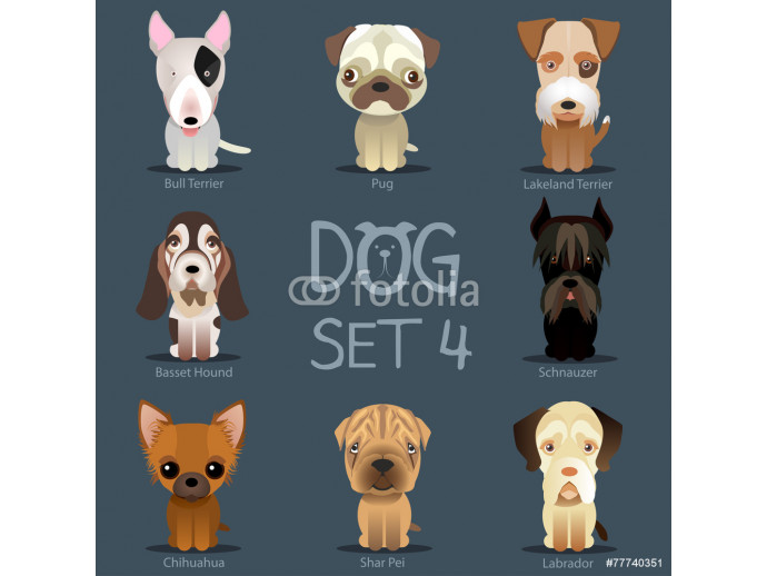 Papier peint moderne Dogs Set 3. Vector breed of dogs 64238