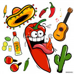 Mariachi chili pepper Mexican icon collection. 64238
