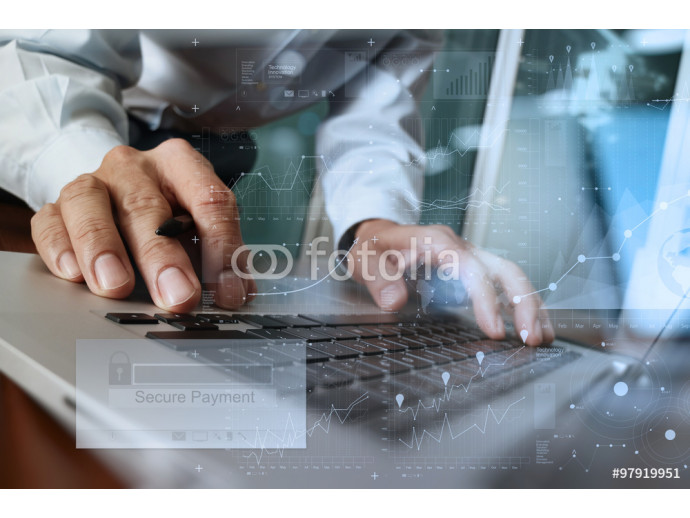 "hands using laptop and holding credit card with ""Secure payment"" 64238"