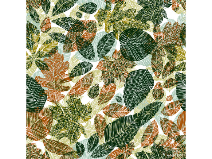 Photo wallpaper Different leaves seamless pattern. 64238