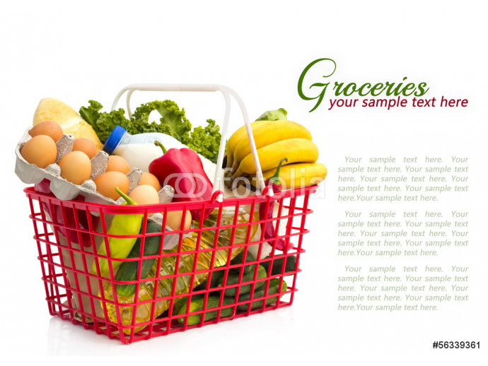 Shopping basket with groceries 64238