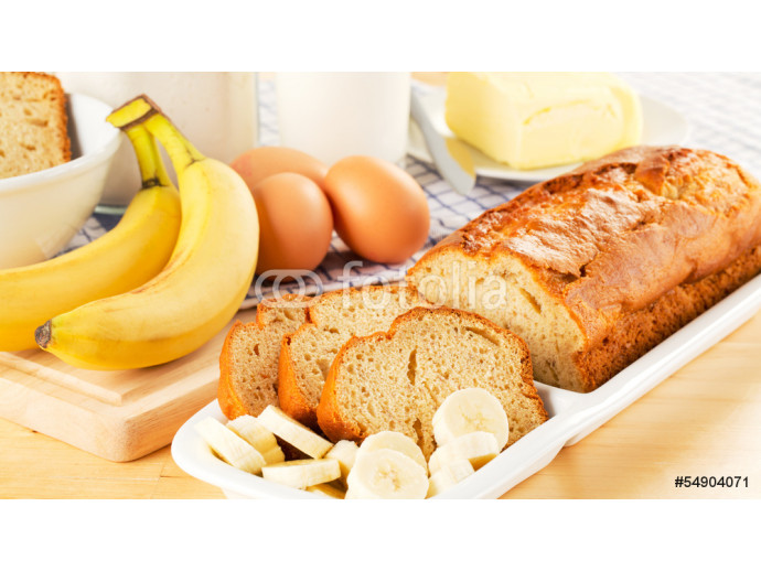 Freshly baked banana bread and ingredients 64238
