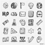 Back to School doodle hand-draw icon set 64238