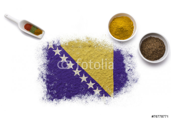 Spices forming the flag of Bosnia and Herzegovina.(series) 64238
