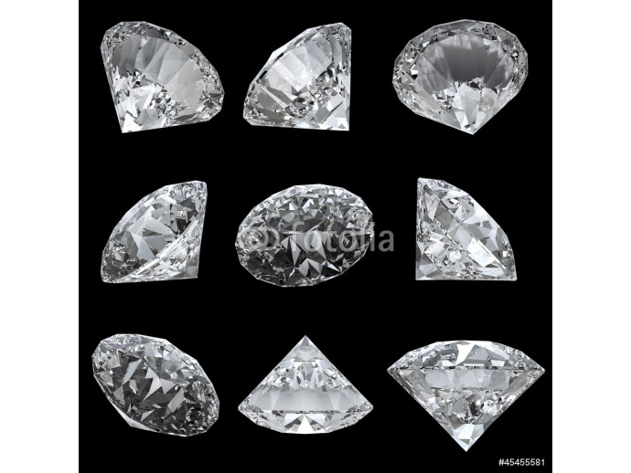 Fototapeta Set of 9 diamonds with clipping path 64238