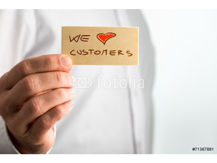 Hand Holding Small We Love Customer Signage 64238