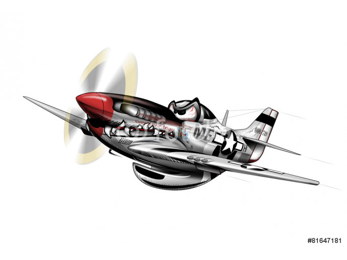 P-51 Mustang WWII Airplane Cartoon 64238