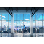 Contemporary office with New York view. Financial charts are drawn over the windows. 64238
