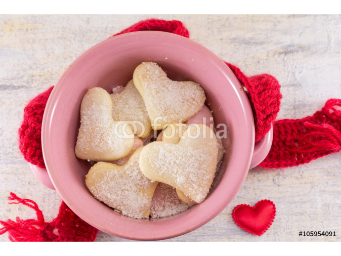 Heart shaped biscuits in a bowl 64238