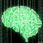 Illustration of human brain shaped circuit board isolated on black background 64238
