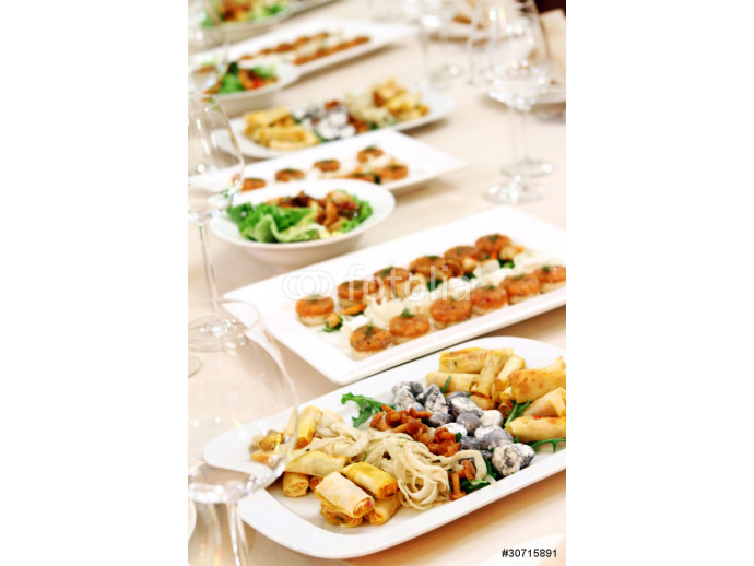 Banquet table with snacks 64238
