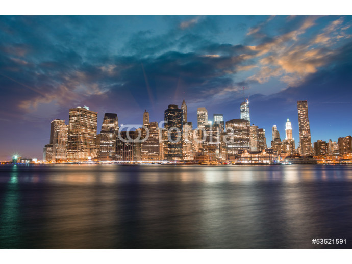 Spectacular sunset view of lower Manhattan skyline from Brooklyn 64238