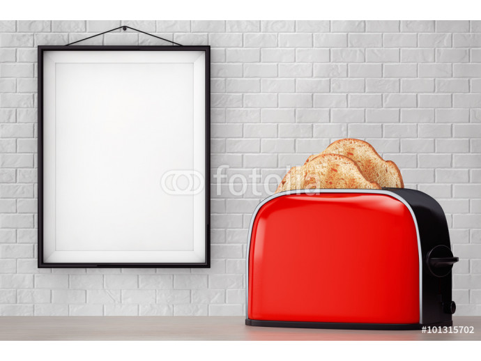 Toast popping out of Vintage Red Toaster in front of Brick Wall 64238