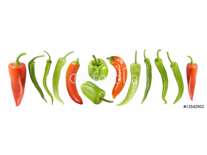 Various peppers. Isolated on white with clipping path. See also. 64238