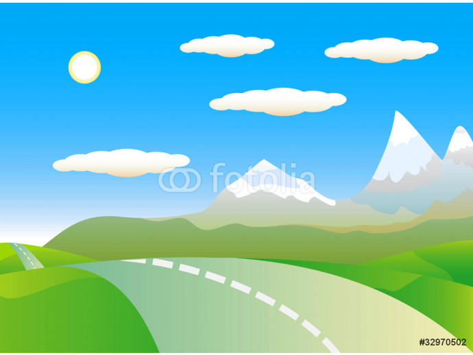 Mountain landscape and road. 64238