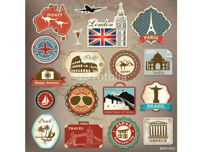 Collection of vintage retro vacation & travel labels and icons 64238