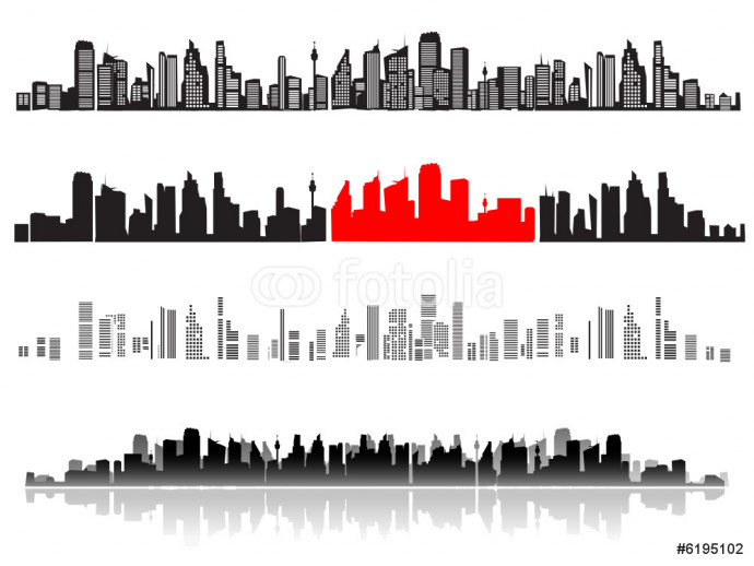 City landscape, silhouettes of houses black 64238