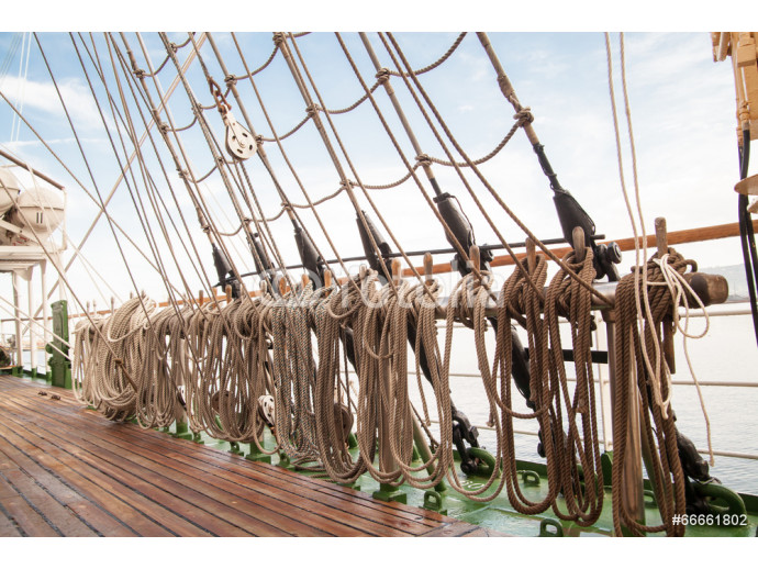 Wallpaper ropes on an old vessel, sailing 64238