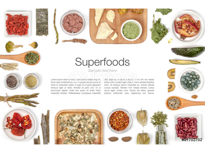 various superfood on white background top view 64238