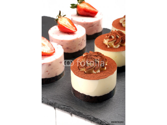 Tray with delicious catering cakes 64238