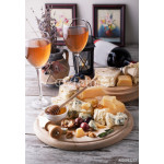 Delicious cheeses on a board with honey, nuts and wine 64238