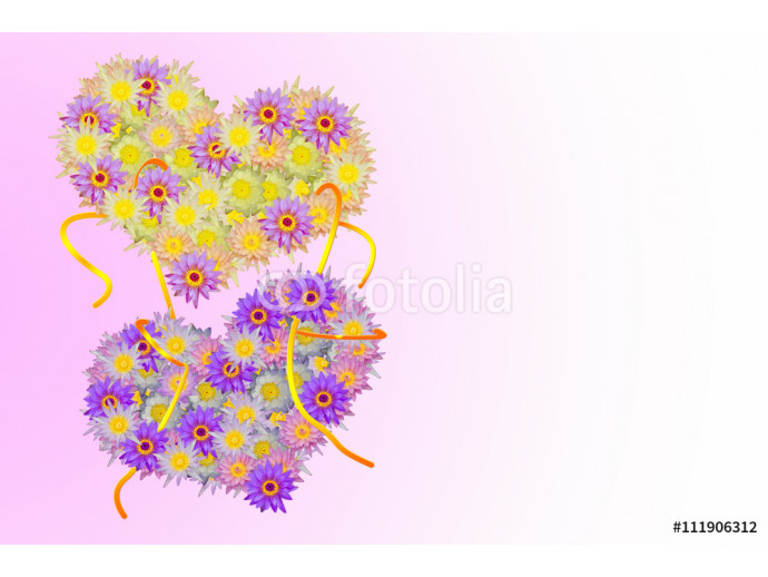 Two pink purple yellow heart shaped lotus flowers tied up with rope on pale pink background 64238