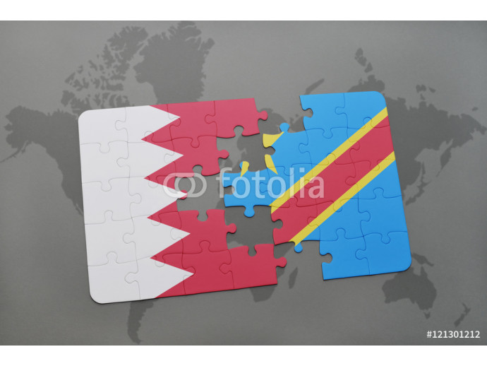 puzzle with the national flag of bahrain and democratic republic of the congo on a world map background. 64238