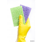 A yellow cleaning glove with a sponge 64238