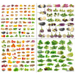 fruit and Vegetables collection isolated on white background 64238