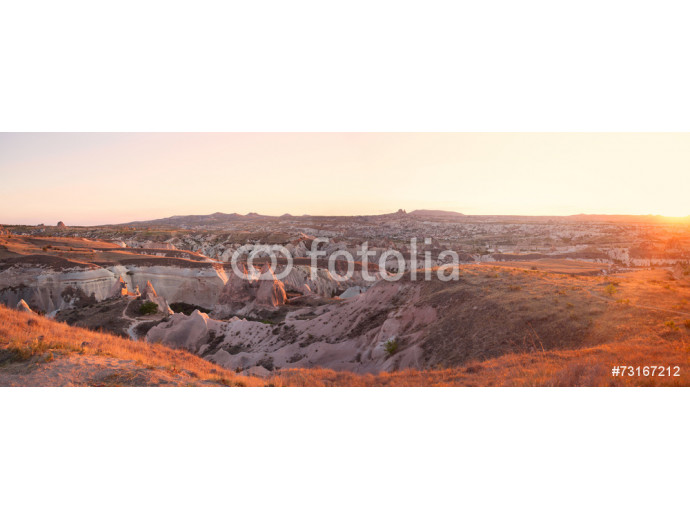 mountains and valley in the evening during sunset in Cappadocia 64238