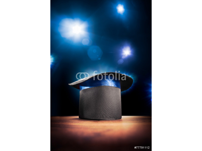 High contrast image of magician hat on a stage 64238