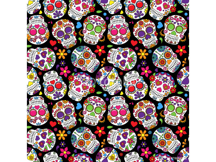 Day of the Dead Sugar Skull Seamless Vector Background 64238